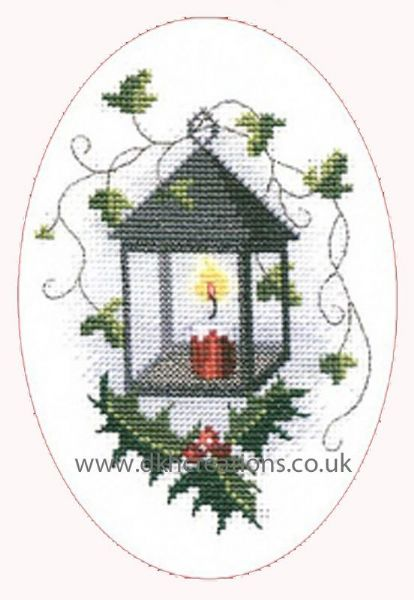Lantern Christmas Card Cross Stitch Card